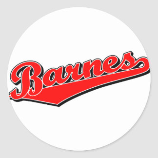 Barnes en rojo pegatina redonda