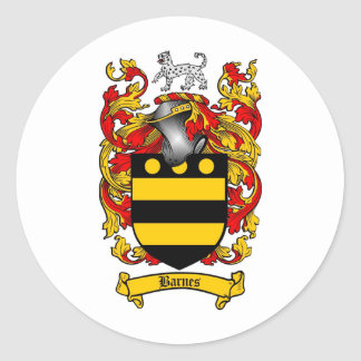 BARNES FAMILY CREST -  BARNES COAT OF ARMS CLASSIC ROUND STICKER