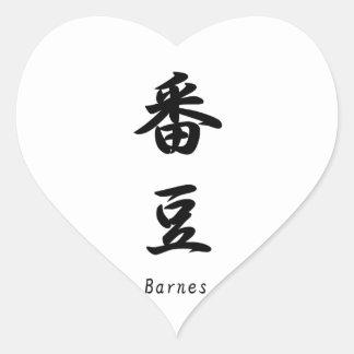 Barnes translated into Japanese kanji symbols. Heart Stickers