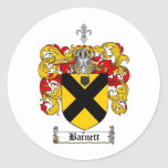 BARNETT FAMILY CREST -  BARNETT COAT OF ARMS CLASSIC ROUND STICKER
