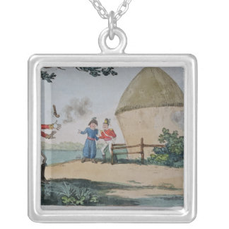 Barney fighting a duel silver plated necklace