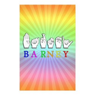 BARNEY FINGERSPELLED ASL NAME SIGN STATIONERY