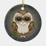 Barney The Barn Owl Round Ornament