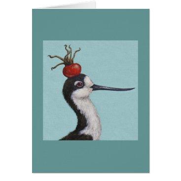 Beach Themed Barney the black necked stilt card