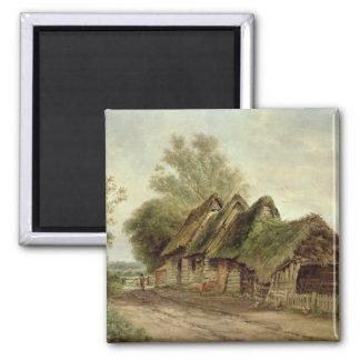 Barns at Flatford (oil on canvas) Magnet