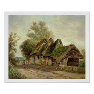 Barns at Flatford (oil on canvas) Poster