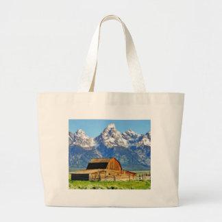 Barns Grand Tetons Mountains Large Tote Bag