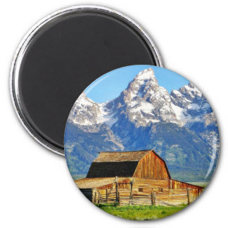 Barns Grand Tetons Mountains 2 Inch Round Magnet