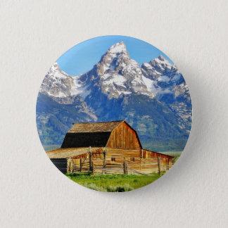 Barns Grand Tetons Mountains Pinback Button