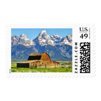 Barns Grand Tetons Mountains Postage