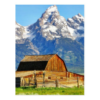 Barns Grand Tetons Mountains Postcard