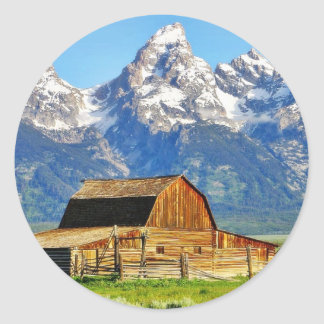 Barns Grand Tetons Mountains Round Stickers