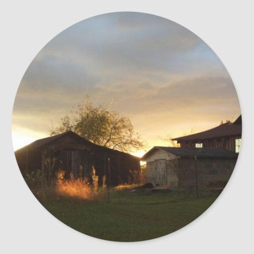 Barns in the Afternoon Sunlight Classic Round Sticker