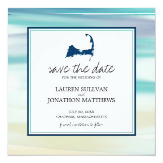 Barnstable Cape Cod Watercolor Ocean Save the Date Card