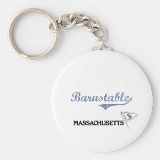 Barnstable Massachusetts City Classic Basic Round Button Keychain