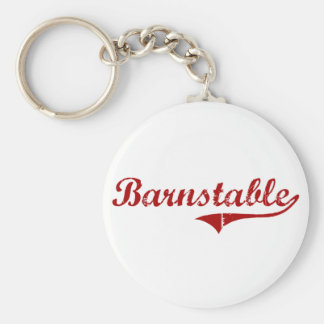 Barnstable Massachusetts Classic Design Basic Round Button Keychain