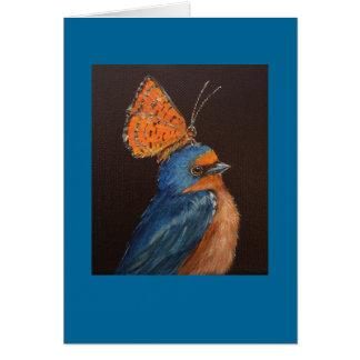 barnswallow con la tarjeta de la mariposa