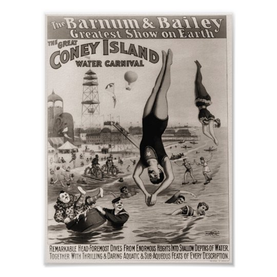 Barnum and Bailey Coney Island Water Carnival Poster