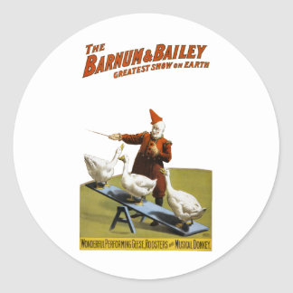 Barnum and Bailey: Performing Geese Classic Round Sticker