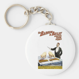 Barnum and Bailey: Performing Pigs Basic Round Button Keychain