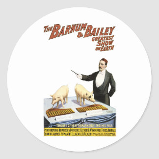 Barnum and Bailey: Performing Pigs Classic Round Sticker