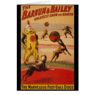Barnum & Bailey Circus Foot-Ball Dogs Greeting Cards