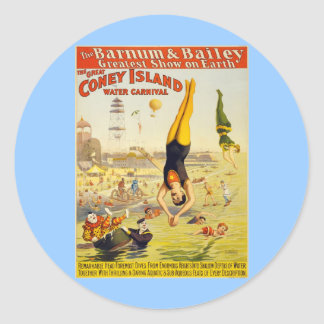 Barnum & Bailey Coney Island Water Carnival Classic Round Sticker