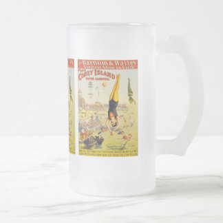 Barnum & Bailey Coney Island Water Carnival Frosted Glass Beer Mug