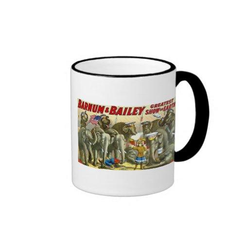 Barnum & Bailey - Elephants - Vintage Ad Ringer Mug