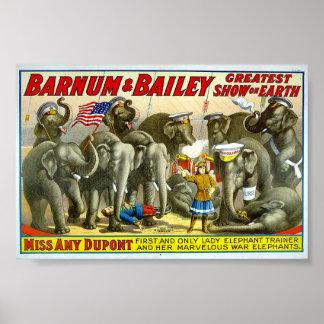 Barnum e instructor del elefante de Bailey Impresiones
