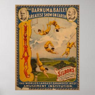 Barnum y Bailey/artistas de trapecio Póster