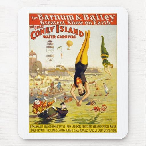 Barnum y carnaval del agua de Bailey Coney Island Alfombrillas De Ratón