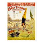 Barnum y carnaval del agua de Bailey Coney Island Postales