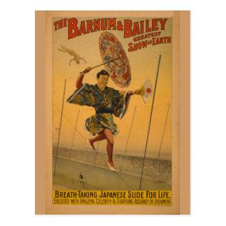 Barnum y diapositiva de Bailey para el poster del Postales