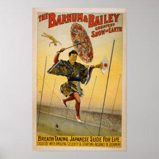 Barnum y diapositiva del japonés de Bailey para la Póster