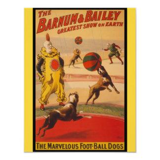 """Barnum y perros del fútbol del circo de Bailey Invitación 4.25"""" X 5.5"""""""