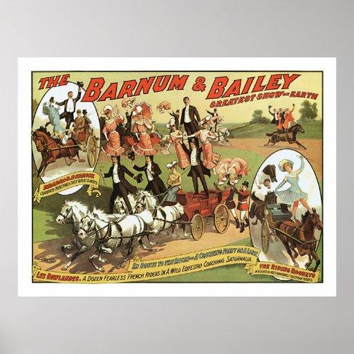 Barnum y poster del anuncio de los jinetes de truc