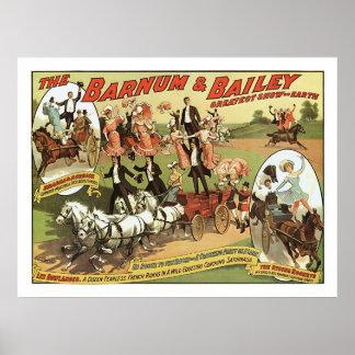 Barnum y poster del anuncio de los jinetes de truc póster