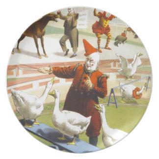 Barnum y poster del circo del vintage de Bailey Plato De Cena