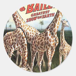 Barnum y teatro retro de las jirafas de Bailey Pegatinas Redondas
