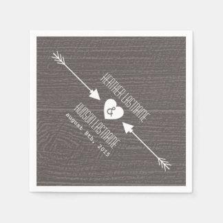 Barnwood and Arrows Wedding Napkins Paper Napkins