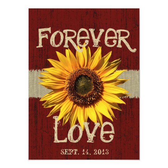 Barnwood and Burlap Sunflower Wedding Card