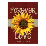 "Barnwood and Burlap Sunflower Wedding 5.5"" X 7.5"" Invitation Card"