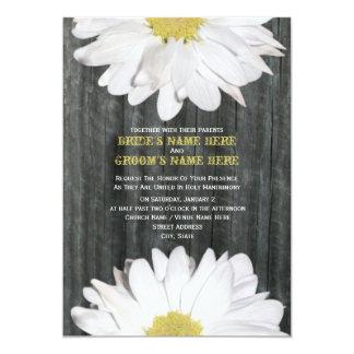 "Barnwood and Daisy Wedding Invitation 5"" X 7"" Invitation Card"