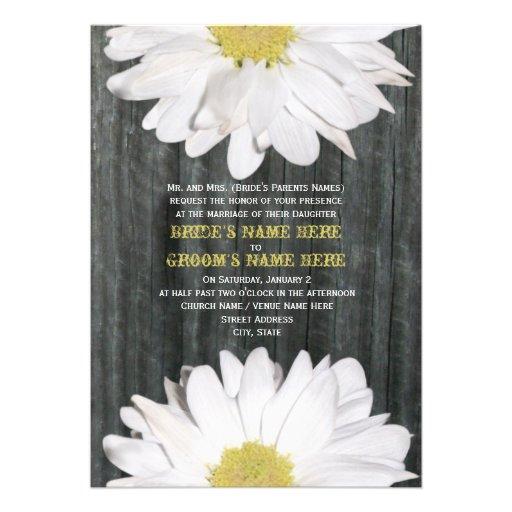 Barnwood and Daisy Wedding Invitation