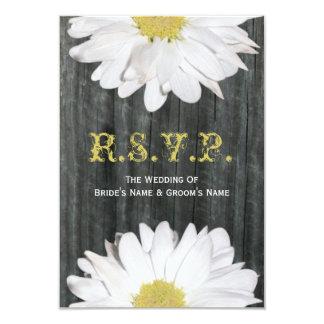 Barnwood and Daisy Wedding Small RSVP 3.5x5 Paper Invitation Card