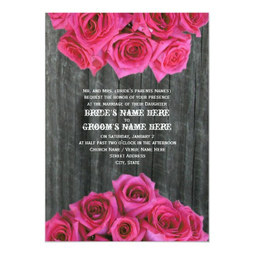 "Barnwood and Hot Pink Roses Wedding Invitation 5"" X 7"" Invitation Card"