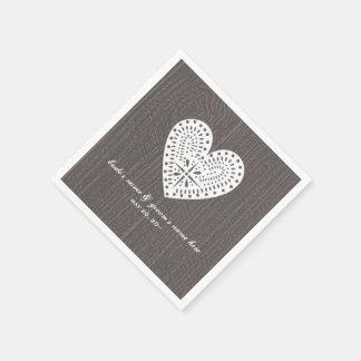 Barnwood and Lace Heart Wedding Napkins Paper Napkins