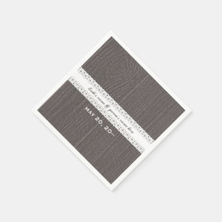 Barnwood and Lace Wedding Napkins Disposable Napkin
