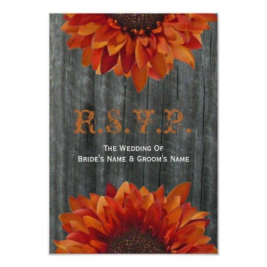 Barnwood and Sunflower Fall Wedding Small RSVP Card